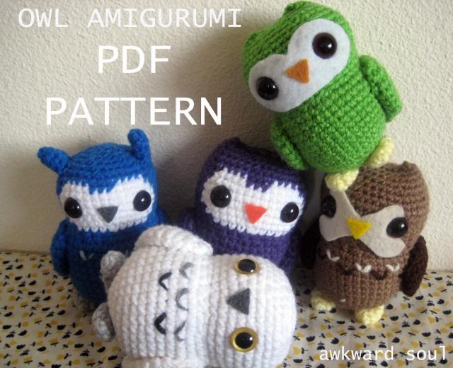 owl amigurumi pattern by awkward soul - PDF